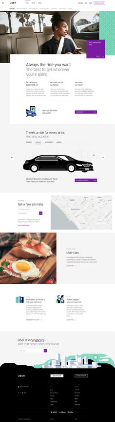 A completely redesigned home for Uber, reflecting its international aspirations, abundance of services, and friendlier consumer-facing brand. Study Websites, Site Design, Design Web, New Drivers, Design System, Easy Rider, Landing Page Design, Job Opening, Web Design