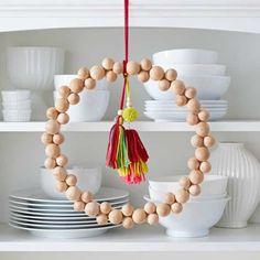 How to Make a Wood Bead Wreath #woodenbeads #beadwreath #wreath