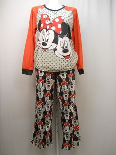 PLUS SIZE 2X Women 2PC Microfleece PJ Set DISNEY Minnie Mickey Long Sleeve Crew  #Disney #PajamaSets #Everyday