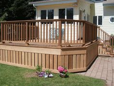 Small Deck Ideas - Find ideas and inspiration for Deck Skirting to add to your own home. Inspiration for a timeless wood exterior home remodel with Modern Outdoor Patio Wood Deck Designs, Stone Patio Designs, Cool Deck, Diy Deck, Deck Patio, Deck Bar, Wood Patio, Patio Roof, Deck Skirting