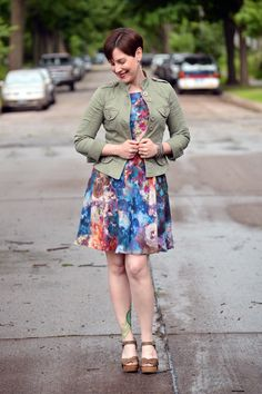 Already Pretty outfit featuring military jacket, olive green sandals, watercolor dress, Suzi Chin dress