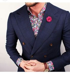 Floral print shirt mixed with windiw pane check navy double breast suit