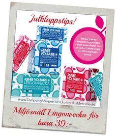 #Julklappstips! Miljövänlig #Lingonvecka? Javisst! 100% ekologiska #tamponger, #bindor och #trosskydd i snygga förpackningar.  Shoppa här: http://www.tampongshopen.se/varumarken/lingonvecka-ekologiska-mensskydd/