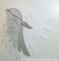 Einladung Kommunion First Communion, Diy Paper, Crafts To Make, Nativity, Memory Box Dies, Stampin Up, Christening, Diy Cards, Card Making
