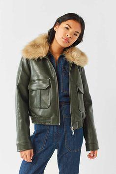 UO Faux Fur Green Flight Jacket