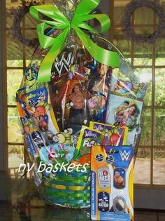 Wrestling Basket. WWE Boys Easter Basket, Easter Baskets, Diy Wwe, Diy Gift Baskets, Basket Ideas, Easter Crafts, Festive, Diy Ideas, Rocks
