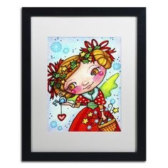 """Trademark Art 'Holly and Snow' by Jennifer Nilsson Framed Graphic Art Size: 20"""" H x 16"""" W x 0.5"""" D, Matte Color: White"""