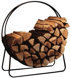 "Panacea 40 "" Tubular Steel Log Hoop Fire Wood Storage, Indoor / Outdoor, Winter #Panacea"