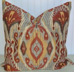 Red Yellow IKAT Pillow Cover NEW Ikat by CodyandCooperDesigns