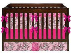 Cool Punk Rock Crib Bedding Set: Glitter Princess Skulls