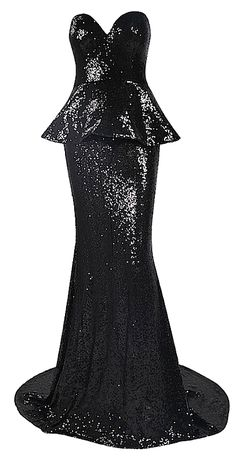 Sharletta Sequined Peplum Maxi Dress - Black from Raw Glitter | Shop Hottest New Party Dresses | Women's Clothing, Jewelry
