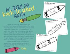 All About Me Packet for Elementary Students All About Me Worksheet, Classroom Procedures, Back To School Activities, Elementary Art, Getting To Know, Art Education, Worksheets, Art Projects, Students