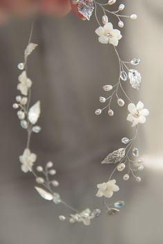 wedding leaf hair vine, pearl laurel leaf grecian by TopGracia