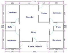 Plano De Casa Grande De 100m2 Y 4 Dormitorios Planos De Casas Grandes Planos De Casas Modernas Planos De Casas