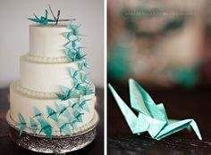 Tuquoise + White Wedding Cake with Origami Details
