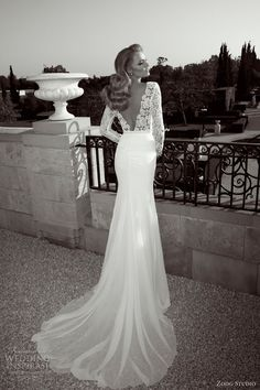 Zoog Studio wedding dress 2013. Long sleeve sheath bridal gown with Guipure lace bodice -- deep V back. This is the most beautiful wedding dress I have ever seen! I'd love to see the front! LTM
