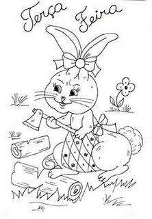 desenho de coelhinha cortando lenha para pintar