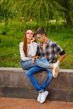 Loving couple teens. by Elena Vagengeim on @creativemarket