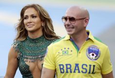 Jennifer Lopez performed with rapper Pitbull ahead of the group A match between Brazil and...