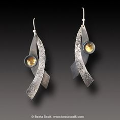Organic texture Silver Earrings Keum Boo  Sterling Silver 24 k Gold Earrings Dangle earrings