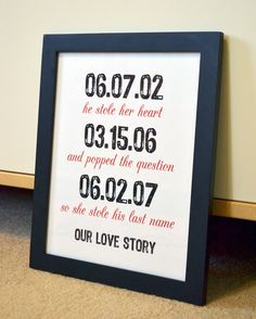 First anniversary 8x10 art gift- important dates- anniversary gift- engagement gift- gift for husband/ wife- unique gift- love story. $10.00, via Etsy.
