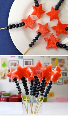Magical Fruits Wands for Fourth of July 18 Easy of July Desserts for Kids Fourth of July Treats for Kids 4th Of July Desserts, Fourth Of July Food, 4th Of July Celebration, 4th Of July Party, July 4th, Fourth Of July Recipes, 4th Of July Ideas, Memorial Day Desserts, Patriotic Party