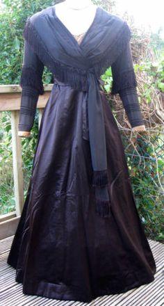 Antique Edwardian Black Brown Silk Lace Velvet & Satin Gown Dress 1906-1908 XS/S
