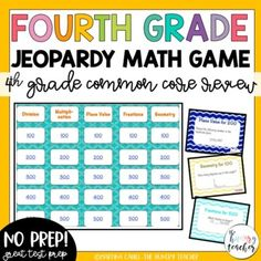 <p>I have created a fun fourth grade math review game that is designed to be just like the television game show to review fourth grade multiplication, division, place value, and geometry for test prep review. </p><p></p><p>This games is so complete you won't need anything but a way to keep score. No prep required!? You can't beat that! Even better, your kids will love it.</p><!-- New description editor --> Fourth Grade Math, Math Class, Math Test Games, Math Jeopardy, Review Games, Test Prep, Multiplication, Division, Geometry