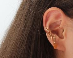 Ear Cuff Red Aventurine Tangerine Gemstone by AnaisArtShoppe