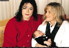Michael Jackson and Debbie Rowe with their newborn son Prince Michael in 1997.