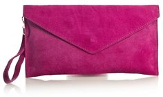 Big Handbag Shop Womens Real Italian Suede Leather Envelope Clutch Bag (V108 Pink): Handbags: Amazon.com