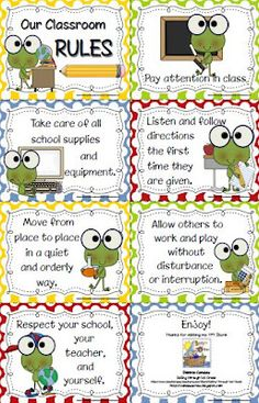 Frog themed rules for classroom.  General rules that would work for any grade.