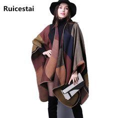 Nice Deal $15.85, Buy brand 2017 women winter scarf warmer shawl ladies Vintage plaid Blanket knit wrap Cashmere poncho capes female echarpe pashmina