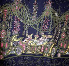 Vintage 50s Saul Steinberg Rollercoaster novelty border print skirt fabric 3 yd