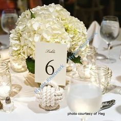 Wedding table setting, nautical theme