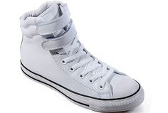 2013 New White Embroidery Converse Padded Collar Chuck Taylor All Star Double Buckles Velcro High Tops Leather Winter Boots