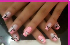Nails disney designs manicures New Ideas Nail Swag, French Nails, Gorgeous Nails, Pretty Nails, Fingernails Painted, Cute Pink Nails, Valentine Nail Art, Heart Nails, Long Acrylic Nails