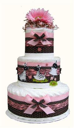 diaper cake - pretty. haha at those zebras