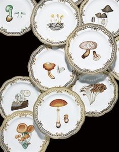 TWELVE ROYAL COPENHAGEN RETICULATED MUSHROOM PLATES