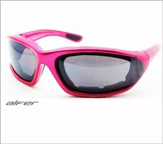 Alfer motorcycle sunglasses by Bikershades.com are available with smoke lens, clear lens or yellow lens. Alfer biker sunglasses are rather smaller frame and one of most popular motorcycle sunglasses for women. Pink <3