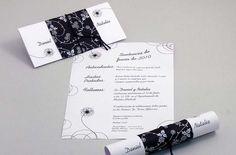 Invitaciones de boda caseras: fotos - Invitación de boda enrollada en blanco y…