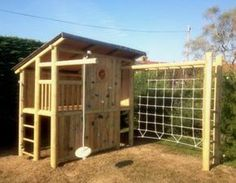 Shed Plans - Like the closed off house idea would put swings instead of climbing rope - Now You Can Build ANY Shed In A Weekend Even If You've Zero Woodworking Experience! Backyard Fort, Backyard Playground, Backyard For Kids, Backyard Projects, Outdoor Projects, Playground Ideas, Wood Playground, Toddler Playground, Garden Playhouse