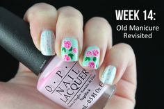 #ablecaw14 Week 14: Old Manicure Revisited. Dollish Polish - Expecto Patronum / Depend - Nail Art Liner, White / Essie - Fashion Playground / OPI - Mod About You / OPI - Shorts Story / OPI - Hey Baby / Konad - Green.