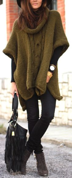 Modern Country Style: Winter Fashion Modern Country The Poncho Fall Winter Outfits, Winter Wear, Autumn Winter Fashion, Look Fashion, Fashion Outfits, Womens Fashion, Street Fashion, Fashion Fall, Street Chic