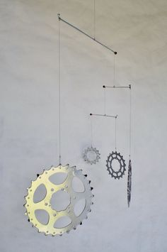 Bicycle Mobile Recycled Bicycle Art Kinetic by Winterwomandesigns, $45.00