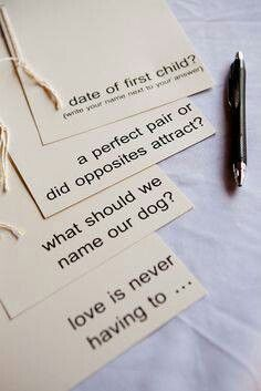 Question cards as a fun game or instead of a guestbook