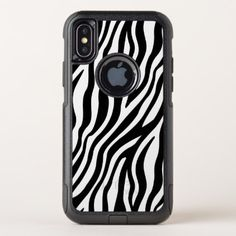 Zebra Print Black And White Stripes Pattern OtterBox Commuter iPhone X Case - white gifts elegant diy gift ideas