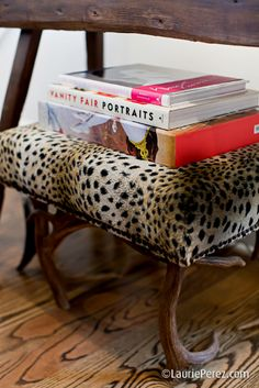 Leopard and Antler Stool by Sally Wheat via La Dolce Vita Blog