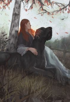 Sansa with one of Ramsay's hounds. Lovely art. She wins!