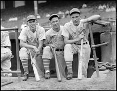 New York Giant Jo-Jo Moore, player-manager Mel Ott, and Carl Hubbell on the dugout steps at Braves Field 1937.